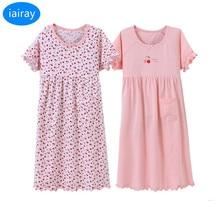 iairay 2 pcs children pajamas for girls short sleeve home sleeping dress summer sleepwear cotton nightgown fashion girl sleepers
