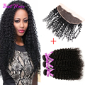 8a Indian Virgin Hair With Frontal Closure Kinky Curly Virgin Hair With Closure Lace Frontal Closure With Bundles With Baby Hair