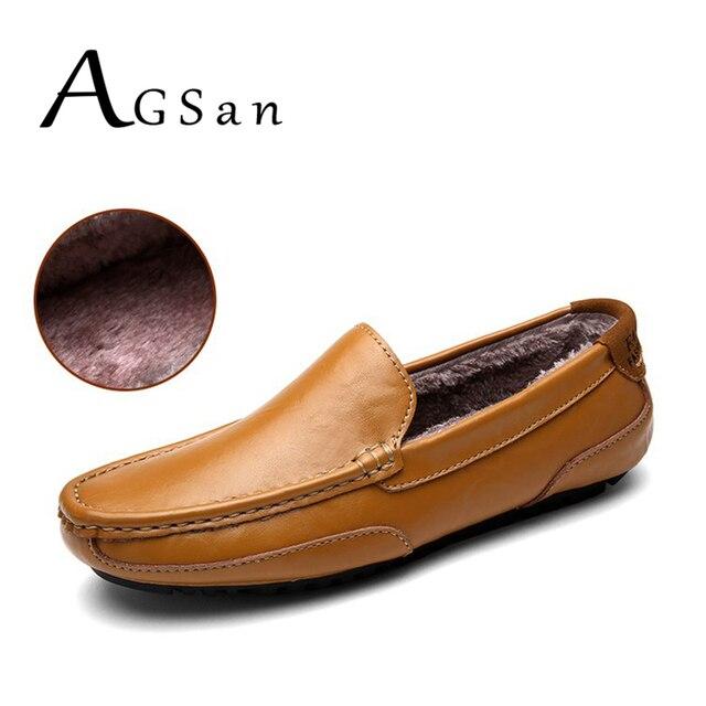 scarpe mocassini AGSan di peluche cuoio invernali breve mens uomini 55w1qHY