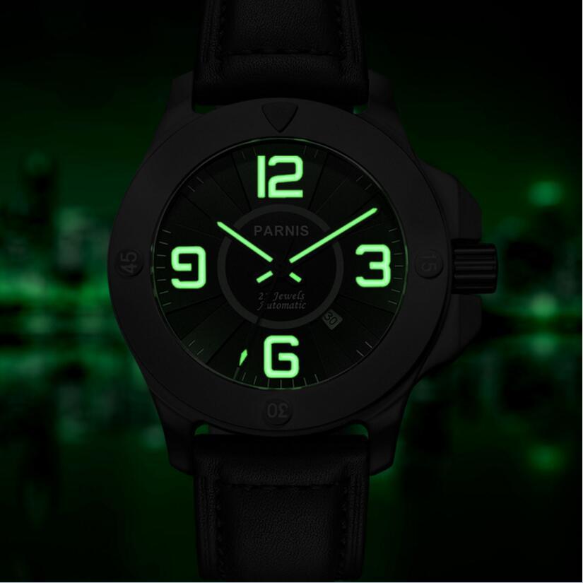 สไตล์แฟชั่นผู้ชายนาฬิกาอัตโนมัตินาฬิกา Parnis 47 มิลลิเมตร Sapphire PVD กรณี Luminous Army ทหารนาฬิกาผู้ชายนาฬิกาข้อมือ-ใน นาฬิกาข้อมือกลไก จาก นาฬิกาข้อมือ บน   2