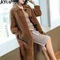 AYUNSUE 100% Casaco de Lã Feminino Real Ovelhas Shearling Fur Casacos Longos Jaqueta de Inverno Mulheres Coreano Rosa Jaquetas Casaco Feminino MY3732