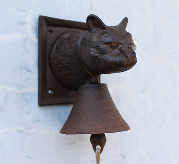 Cast Iron Cat Head Door Bell Doorbell Wall Mounted Bell Ornate Rustic Cottage Patio Garden Farm Country Barn Decor Animal Brown