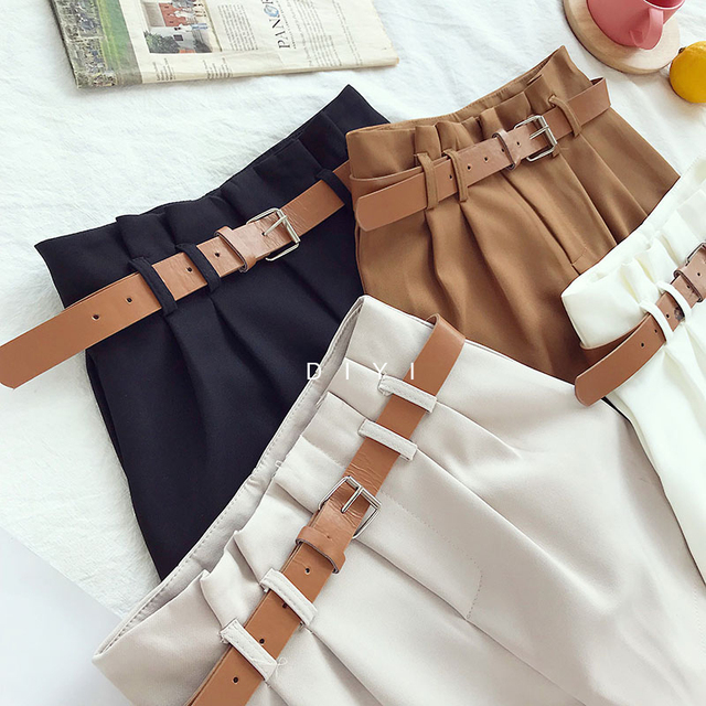 CamKemsey Korean Brief Design White Suit Shorts For Women 2019 Fashion Solid High Waist Wide Leg Shorts With Belt 5 Colors 3