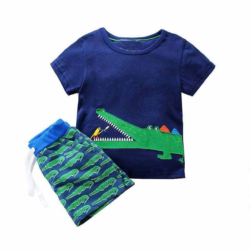 Boys Clothes Summer Children Clothing Sets Kids Costume 2018 Brand Baby Boys Set Animal Applique Tops+Shorts Toddler Tracksuits