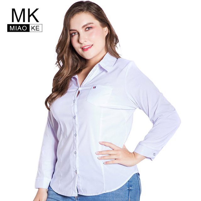 8848ebe8a8dba Miaoke plus size womens tops and blouses clothes 2018 Fashion Long-sleeved  white blouse Large