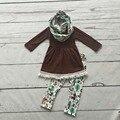 Детские зимние НАРЯДЫ для девочек 3 шт. с шарфом устанавливает девочек aminal бутик одежды новорожденных девочек коричневый топ с кистями рюшами наборы