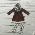baby winter OUTFITS girls 3 pieces with scarf sets girls aminal boutique clothing baby girls brown top with tassels ruffle sets