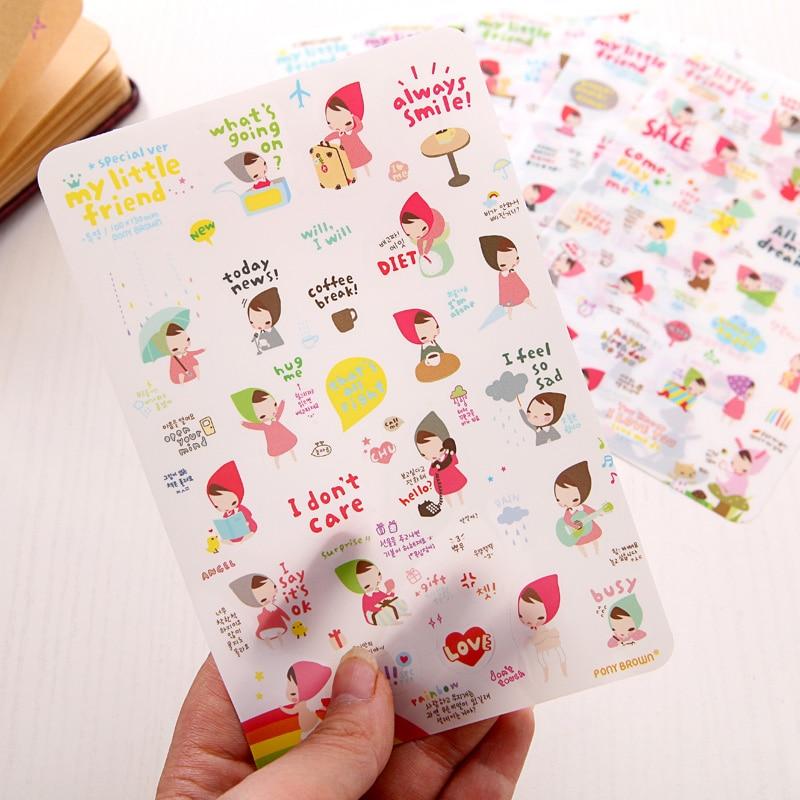 6 Sheets Cartoon Girl Planner Diary Stickers Biscuits Calendar Scrapbook Decor
