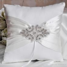 14*14cm Ring Pillow Bride Bridegroom Rings Holder Satin With Crystals Ribbon Wedding Favor wjp007