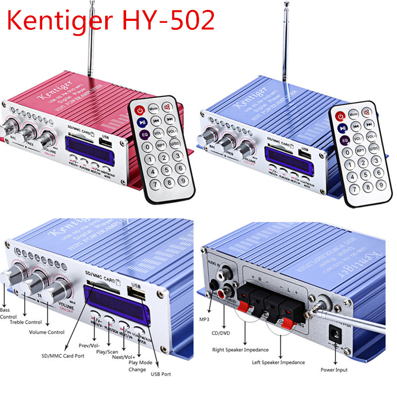 Kentiger HY-502 amplifiers 2CH Hi-Fi Stereo amplifier USB FM Audio Car Stereo Amplifier Digital Display Power Player Speaker