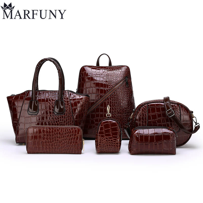 MARFUNY Baggage and Mail 6-Piece Package 2019 New Brand Women's Bag Quality Women's Bag 6PCS Single Shoulder Slant Handbag