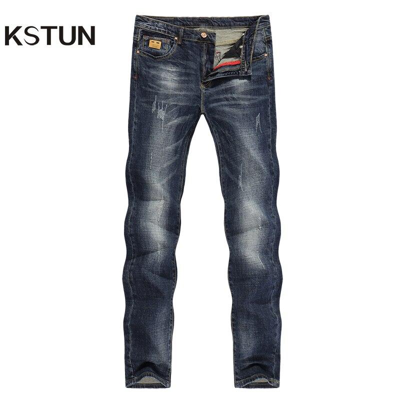 KSTUN Mens   Jeans   Brand Dark Blue Spring and Autumn Slim Straight Stretch Business Casaul Man Denim Pants Cowboys Plus Size 40