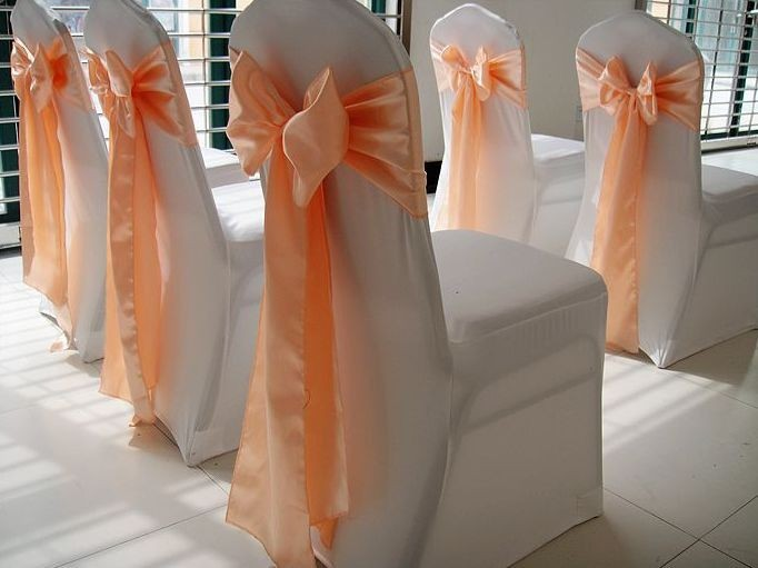 WedFavor 100pcs Peach Banquet Satin Chair Sash Wedding Chair Bow Tie For Hotel Party Event Decoration