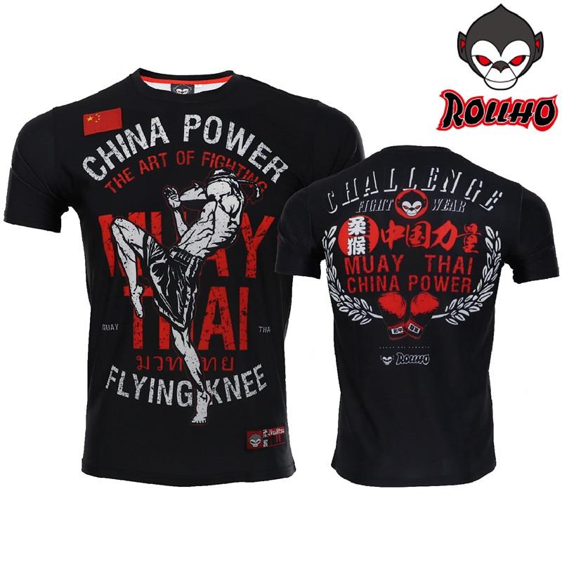 ROLLHO Fight Gear Men's Stretch Training MMA Jersey Muay Thai Fighting Brazilian Jiu-Jitsu Walk-Out MMA T-Shirt