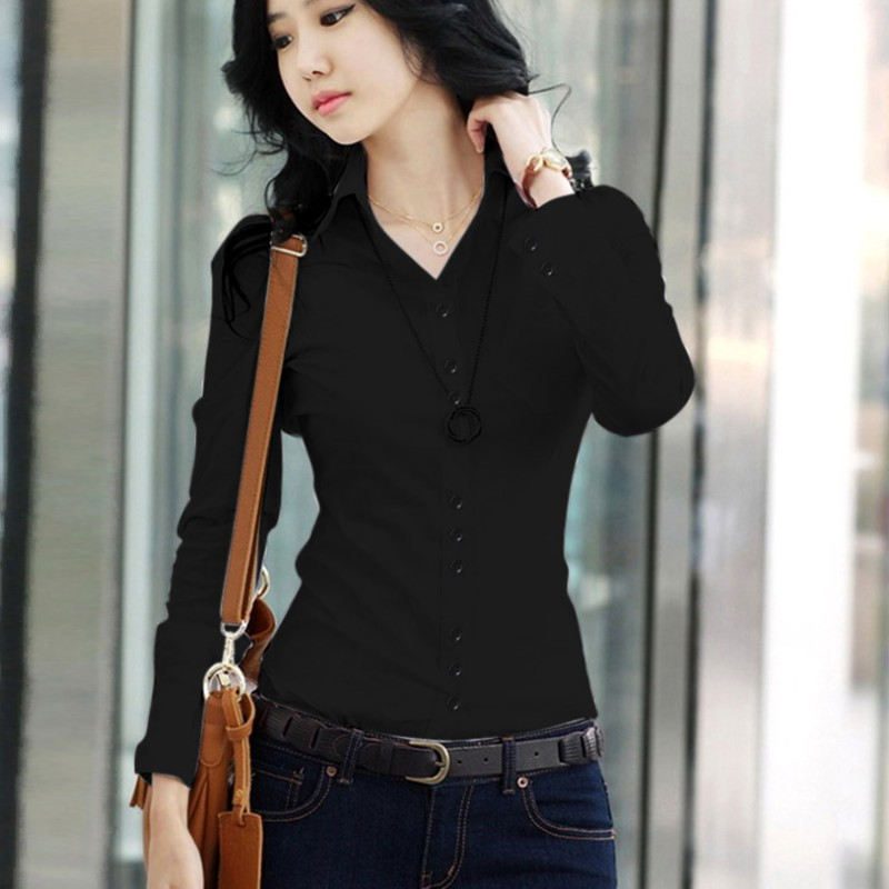 Women Spring Summer Blouses Shirts Office Lady Turn-Down Collar Slim Shirts Fashion Long Sleeve Solid Blouses Tops 2019
