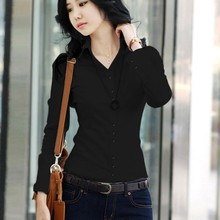 Women Spring Summer Blouses Shirts Office Lady Turn-Down Col