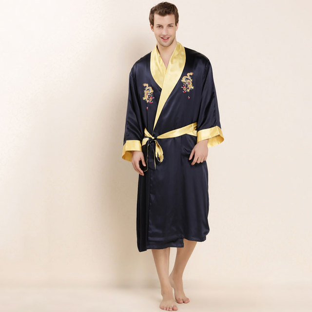 2017 Luxury 100% Real Heavy-weight Silk Bathrobe Mens Long Gown with Belt Loungewear Male Pajamas Dragon Embroidery LX80047M