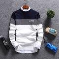 Homens Primavera Outono Pullovers Blusas de Malha Padrão Masculino Manga Comprida Patchwork O Pescoço Listrado Tops Homme