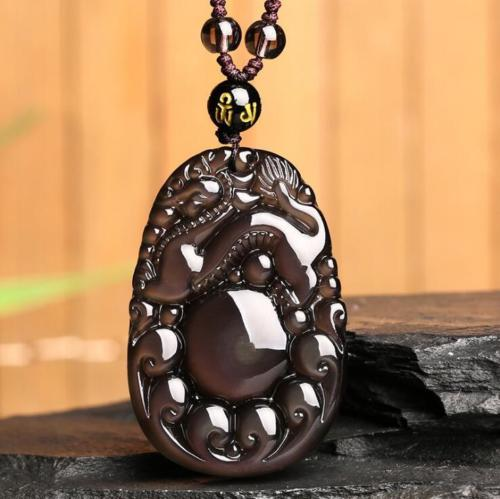 Koraba Fine Jewelry Chinese natural color obsidian hand carved dragon lucky pendant+Beads Necklace Free ShippingKoraba Fine Jewelry Chinese natural color obsidian hand carved dragon lucky pendant+Beads Necklace Free Shipping