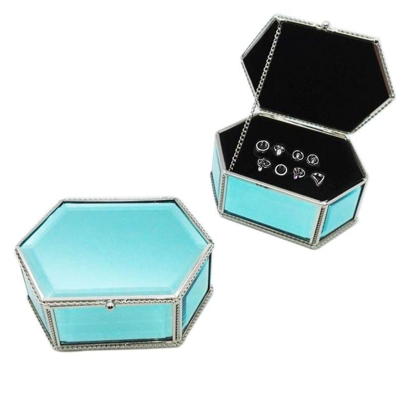Style européen Bijoux En Verre de Cristal Boîte De Rangement organiser Haut de gamme bijoux Multilatéral bijoux boîte de rangement cadeaux D'anniversaire doit