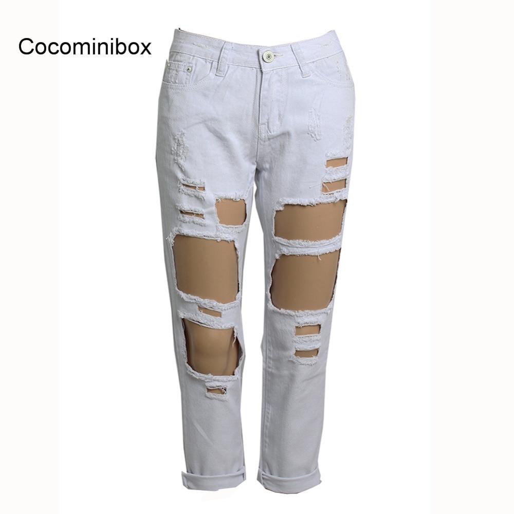 ФОТО Fashion Women Casual Straight Ripped Hole Tassel Denim Pants Destroyed Midi Waist Nine Jeans