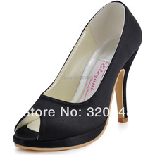 EP11017-PF Black Sexy Stiletto Heel Shoes Peep Toe Platform Woman 4″ High Heel Shoes Satin Prom Women Dress Pumps