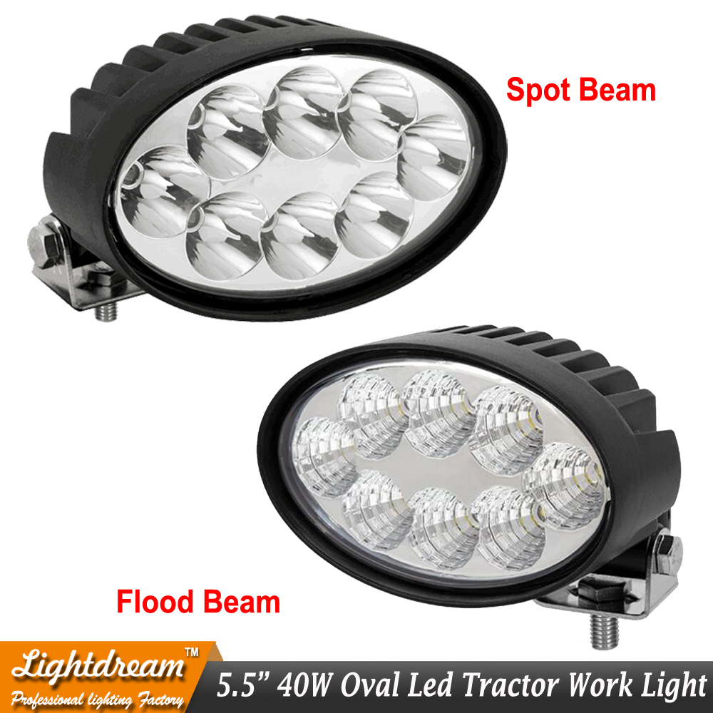 5.5 inch 40W Oval LED Driving Work Light 8LED*5W 12V Oval Off road SUV ATV 4WD Flood Spot Beam 12/24V led tractor work lamp x1