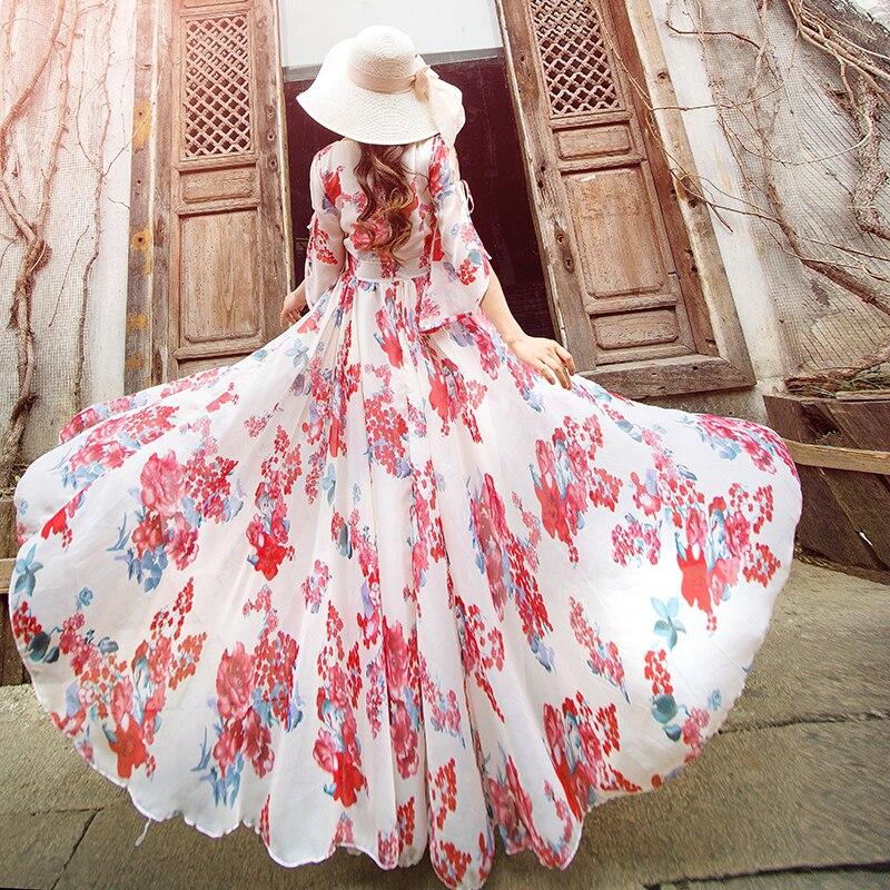 Femmes Floral imprimé col en V en mousseline de soie robes d'été fête plage vacances bohême Long Slim Fit 2 couleurs robe A848