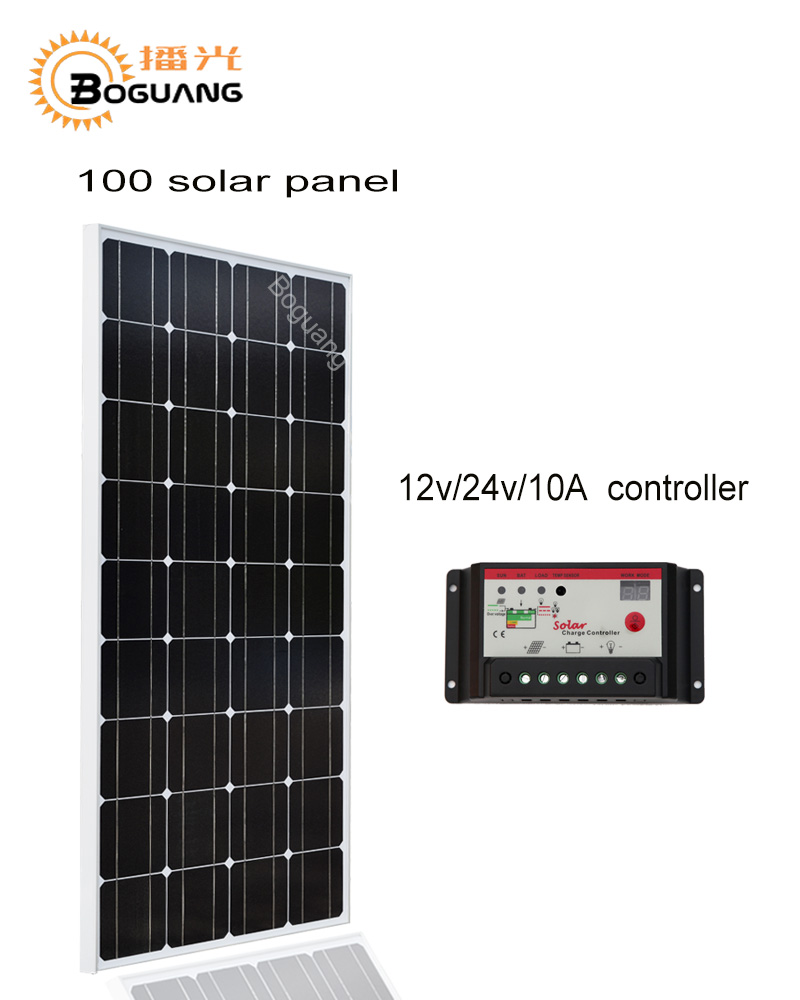 Boguang 100w Monocrystalline silicon cell solar panel module 12V/24V/10A controller MC4 for 12v battery light home power charge high efficiency solar cell 100pcs grade a solar cell diy 100w solar panel solar generators