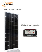 Boguang 100w Monocrystalline silicon cell solar panel module 12V/24V/10A controller MC4 for 12v battery light home power charge