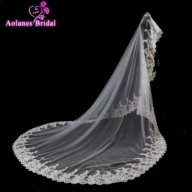 AOLANES 4 Meter Ivory One Layer Cathedral Length Lace Bead Pearls Edge Wedding Veil Long Bridasl Veil Voile Mariage 2018