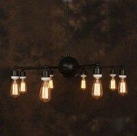 Vintage Iron Chandelier Industrial Edison Lamp Country Style E27*8pcs Ancient Loft Bar Restaurant Kitchen Pendant Lamps