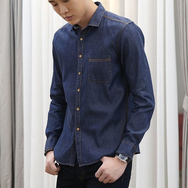 GVNDSJING High-Quality Light Blue Slim Denim Shirt Men 100% Cotton Casual Long Sleeve Denim Mens Shirt Brand Male Tops 3 Color