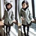 Новый 2015 осень дети куртка детский мультфильм уха кролика зимнее пальто рукав мода детские бонни зимнее пальто ребенка пальто