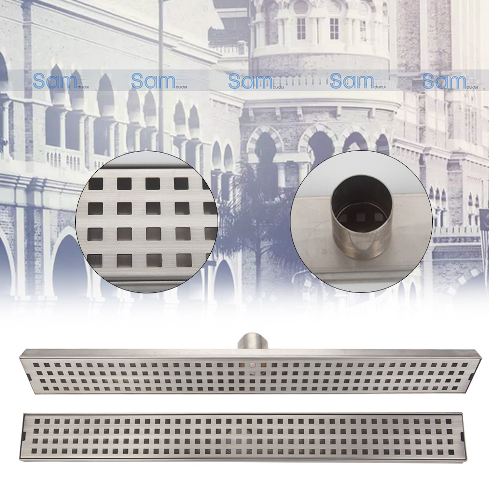24-inch Rectangle linear shower drain Strainer Stainless Steel Floor Drain Shower Waste Water ,Bathroom Floor  Drain 5667 mayitr stainless steel linear shower ground floor drain grate mesh sink strainer bathroom tool 900mm