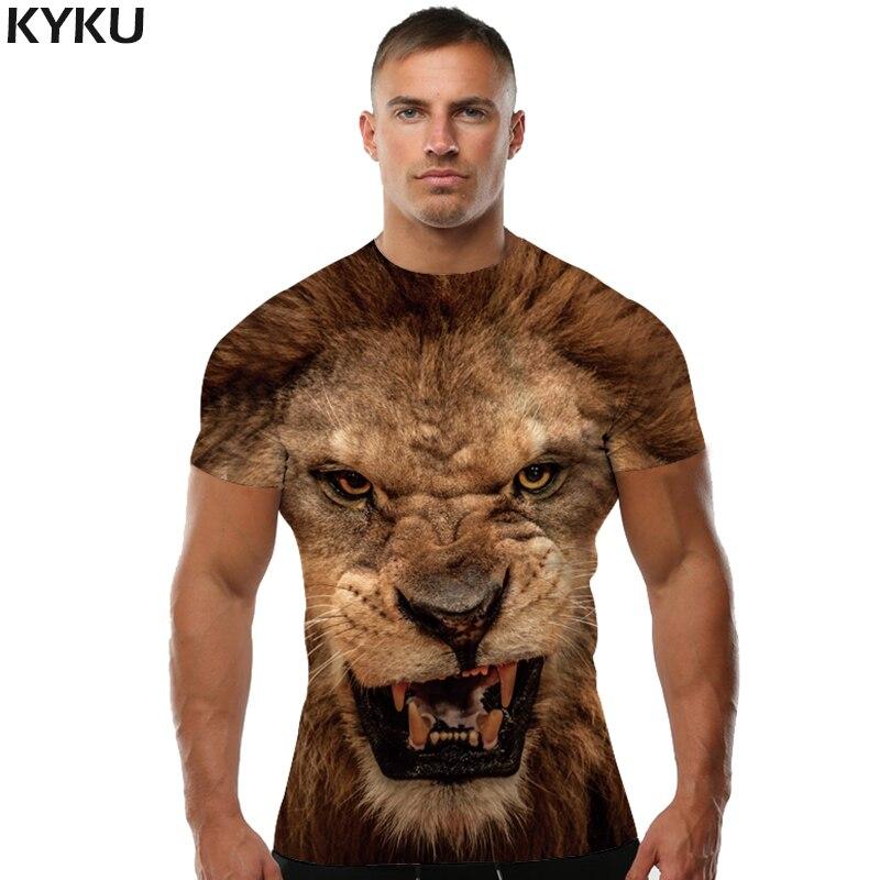 KYKU Marca T-Shirt 3d Leone Animale Maglietta Shirt 3d T Shirt uomini Divertenti T-Shirt Mens Abbigliamento Casual di Fitness TeeTop Tigre Tshirt