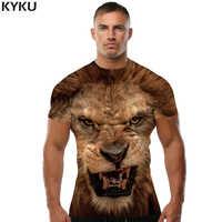 KYKU marca 3d Camiseta Animal León Camiseta 3d hombres divertidas camisetas hombre ropa Casual Fitness TeeTop camiseta con Tigre