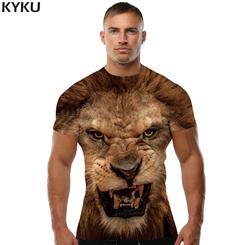 Kyku marca 3d camiseta leão animal camisa camisa 3d t camisa dos homens engraçado t camisas dos homens roupas casuais de fitness teetop tigre tshirt