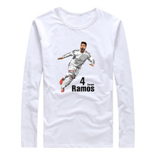 2017 Autumn Winter Spain Captain #4 Sergio Ramos Men T-Shirt Long Sleeve reals Tees T SHIRT Men's Comic Cartoon W1101013