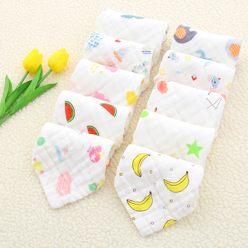 Baby Face Towel 25x25cm 6 Layers Muslin Cotton Soft Baby Towels  Handkerchief Bathing Feeding Face Washcloth Wipe Burp Cloths