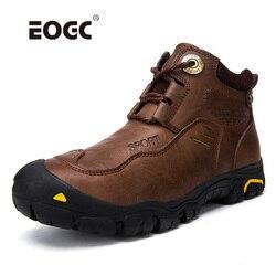 Botas de couro natural feito à mão dos homens botas de pele quente & de pelúcia rendas acima sapatos de inverno de alta qualidade tornozelo botas de neve para homens dropshipping