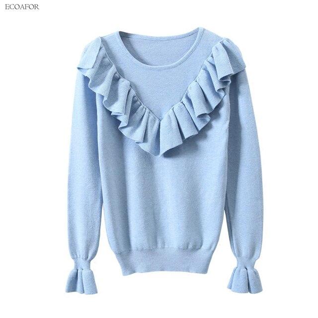 862af624ffa81d Pretty Ruches Trui Voor Vrouwen Dames O-hals Pullovers Vrouwelijke Vintage Lange  Mouwen Gebreide Tops
