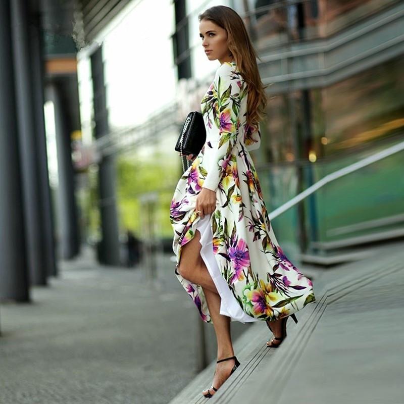 Fashion spring and summer long sleeve print one piece dress o neck slim expansion bottom full