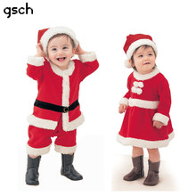 Baby Girl Clothes Cotton Baby Christmas Costume Outfits Boys Santa Claus Clothes Newborn Girls Dress Kids Infant Rompers Fleece