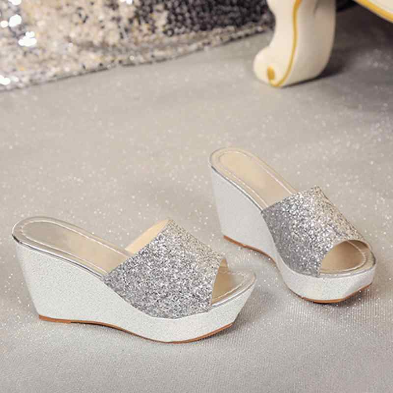 5c19e50704161 ... Summer Women Casual High Heel Wedge Skid Slippers Sandals Silver Bling  Flip Flops Shoes ladies wedge ...