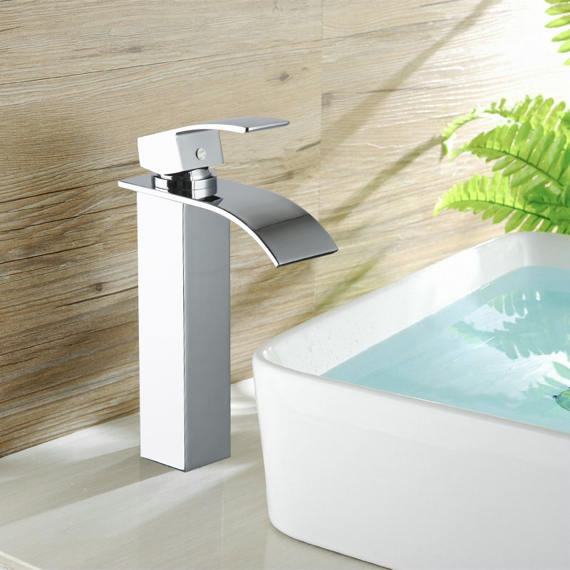 Single Handle Waterfall Faucet Tap Bathroom Chrome Brass Basin Faucet M-012 Mixer Tap Faucet chrome finished bathroom sink tub faucet single handle waterfall spout mixer tap solid brass