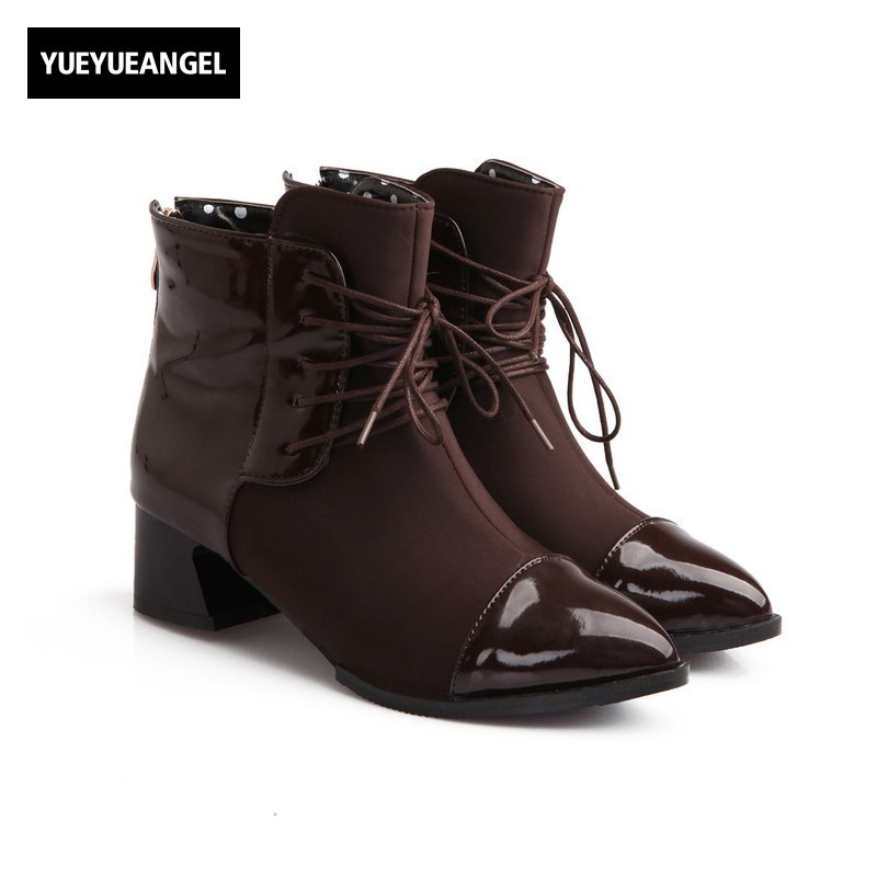 Streetwear Fashion Handsome Pointed Toe Block Chunky Heel Sapatos Mulher Back Zipper Ankle Boots Womens Autumn Multi Color Shoes womens high boots vogue side zipper botas invierno mujer fashion buckle block chunky heel sapatos mulher suede size us 4 10 5