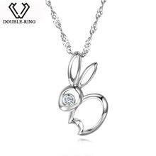 DOUBLE-R 925 sterling silver 0.02ct Diamond Pendant Rabbit Necklaces Romantic Fine Diamond Jewelry for women