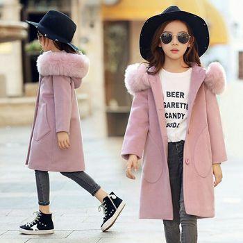 2019 Baby Girls Pink Thick Large Fur Collar Woolen Coat Hooded Jacket Children Autumn Winter Clothes