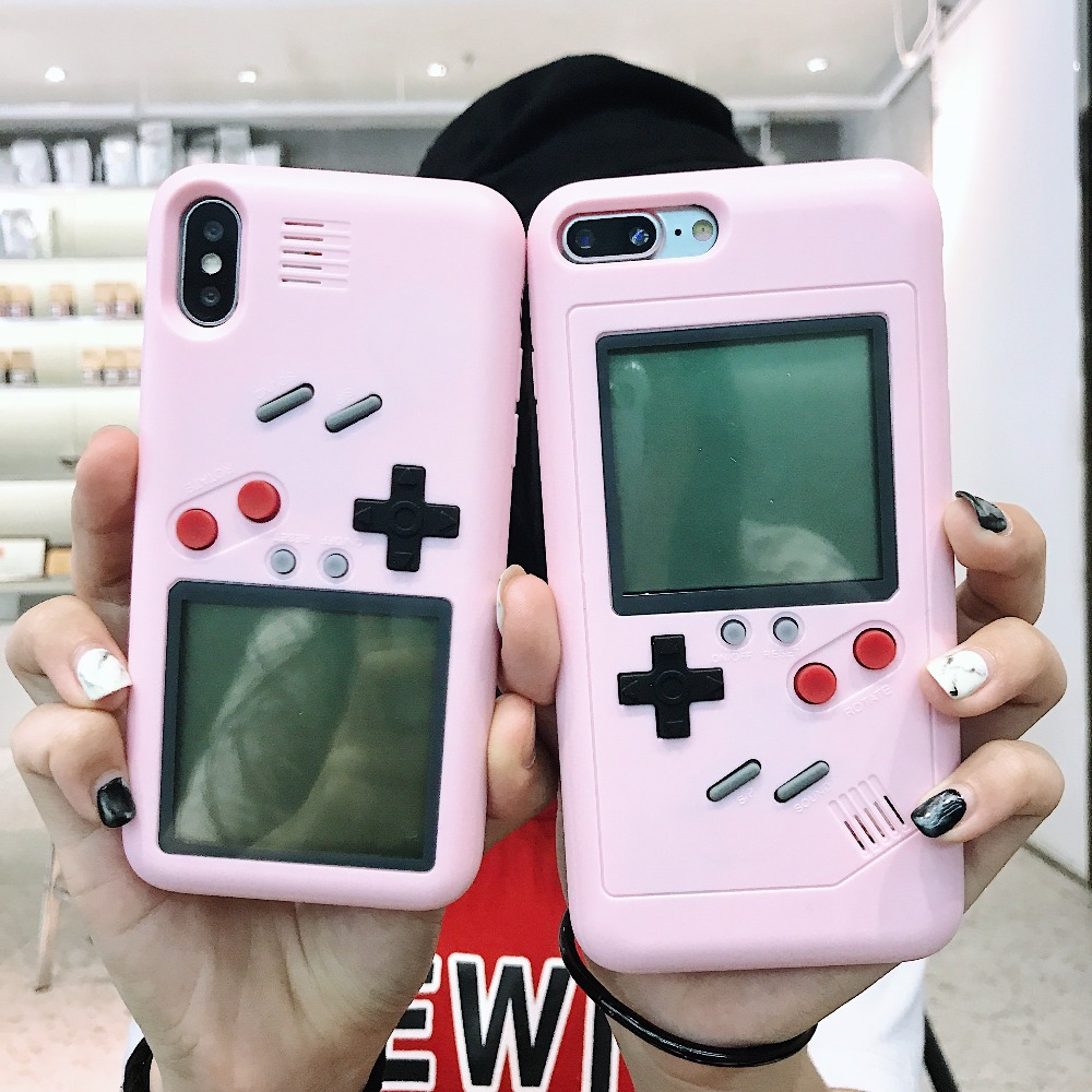 Tetris Game Machine Phone Case For iPhone 6 6S 6 7 8Plus Cover pink Retro Game Console Case For iPhone XS XR Max X10 Capinha iPhone